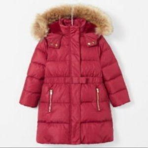 Jacadi Maroon Fur Hood Down Jacket